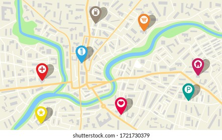 Map city with gps pins. Direction markers for navigation. Street, road, park, river on plan town. Background with location system. Urban map with information pointers, signs, arrows for travel. Vector