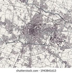 map of the city of Padua, Veneto, Italy