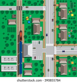 Map of the city to the train station and the train. View from above. Vector illustration. Applique with realistic shadows.