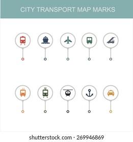 Map city transport theme marks set