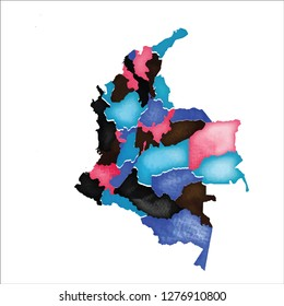 Map of Colombia. Colourful watercolor Colombia map. Delightful country vector illustration.