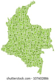 Map of Colombia - Latin America - in a mosaic of green squares. A number of 2365 little squares are accurately inserted into the mosaic. White background.