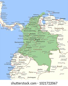 Map of Colombia. Shows country borders, urban areas, place names and roads. Labels in English where possible.Projection: Mercator.