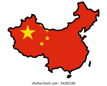 map in colors of China