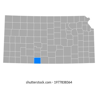 Map of Comanche in Kansas on white