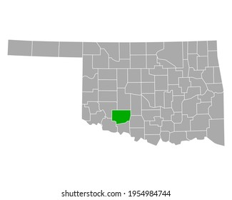 Map of Comanche in Oklahoma on white