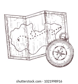 Map and compass for camping tourism, cartoon sketch illustration of travel equipment. Vector