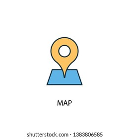 Map concept 2 colored line icon. Simple yellow and blue element illustration. Map concept outline symbol design