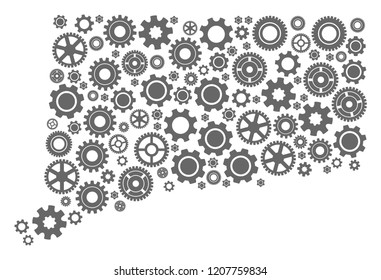 Map of Connecticut State created with gray wheel symbols. Vector abstract collage of map of Connecticut State with repair symbols. Engineering flat design for repair posters.