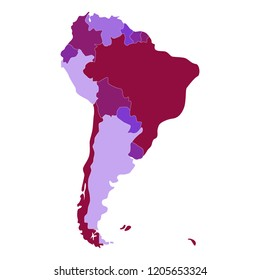 The map of the continent South America.