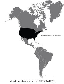 Map of the continent United states of America separated