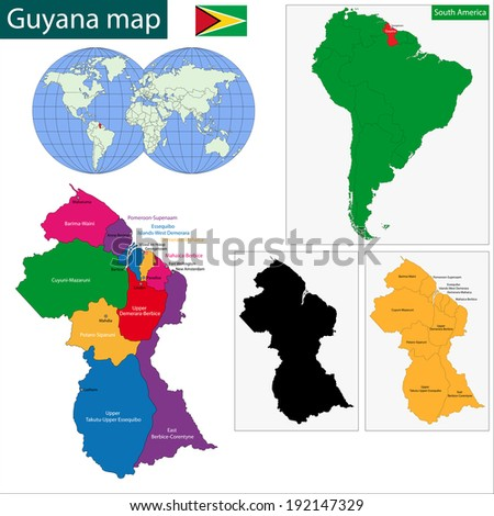 Map cooperative republic guyana regions colored stock vector map of the co operative republic of guyana with the regions colored in bright colors gumiabroncs Image collections