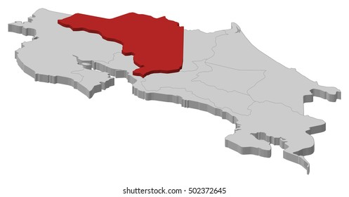 Map - Costa Rica, Alajuela - 3D-Illustration