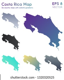 Map of Costa Rica with beautiful gradients. Admirable set of country maps. Great vector illustration.