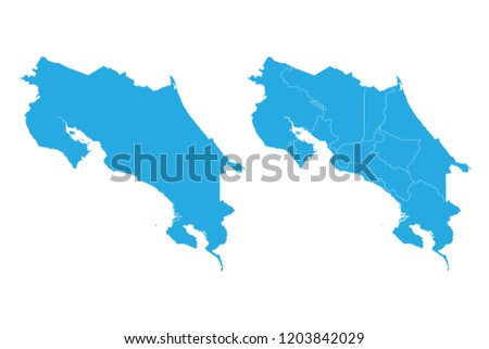 Map Costa Rica Couple Set Map Stock Vector Royalty Free 1203842029