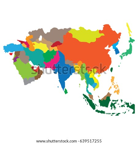 Map Countries Asia Stock Vector (Royalty Free) 639517255 - Shutterstock