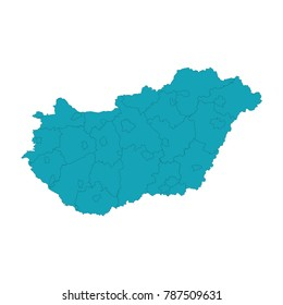 A Map of the country of Hungary, High detailed blue vector map - Hungary, Blue gradient Hungary map. Detailed, Mercator projection. Hungary country map,border.