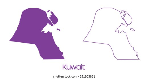 A Map of the country of Kuwait