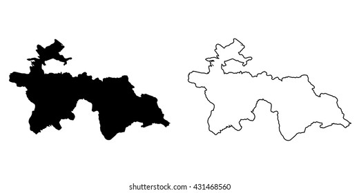 A Map of the country of Tajikistan