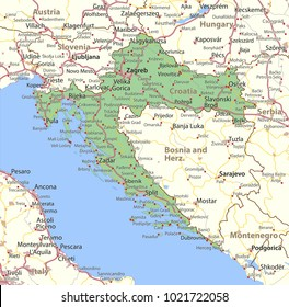 Map of Croatia. Shows country borders, urban areas, place names and roads. Labels in English where possible.Projection: Mercator.