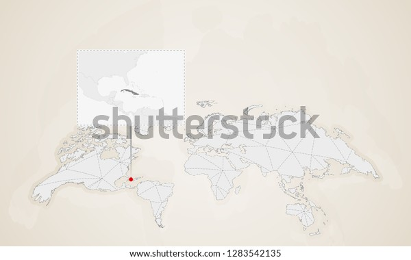 Map Cuba Neighbor Countries Pinned On Stock Vector (Royalty ...