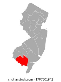 Map of Cumberland in New Jersey on white