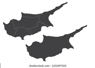 Map - Cyprus Couple Set , Map of Cyprus,Vector illustration eps 10.