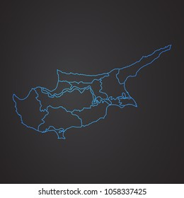 Map of Cyprus . Cyprus region map: blue gradient outline on dark background. Detailed map of Cyprus regions. Vector illustration.