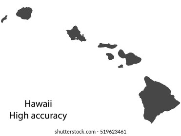 Map delineation of the territory of Hawaii. High accuracy. Vector eps10