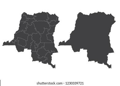 Map - Democratic Republic of Congo Couple Set , Map of Democratic Republic of Congo,Vector illustration eps 10.
