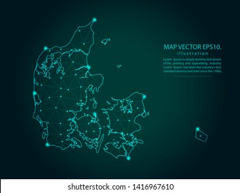 Map of denmark - Abstract mash line and point scales on dark gradient background. Wire Frame 3D mesh polygonal network line, design sphere, dot and structure. Vector illustration eps 10.