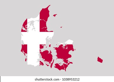 map of denmark with flag,vector illustration
