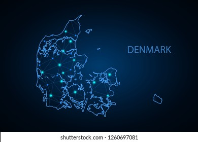 Map of Denmark. Wire frame 3D mesh polygonal network line, design sphere, dot and structure. Vector illustration eps 10. - Vector