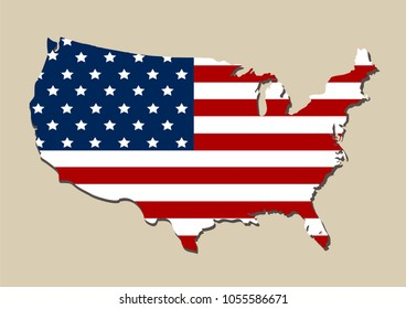Map detail of the USA with American flag. EPS 10 Vector file
