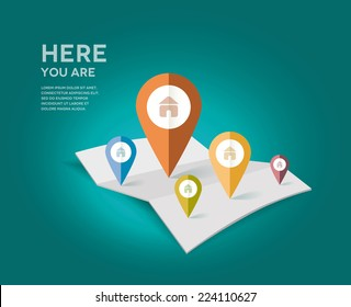 Map with different color point markers. Vector Illustration.