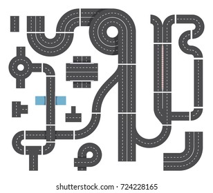 Map from different fragments of city road. Highway traffic, intersecting and cars. Top view vector set of traffic highway road for transport illustration