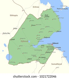 Map of Djibouti. Shows country borders, urban areas, place names and roads. Labels in English where possible.Projection: Mercator.
