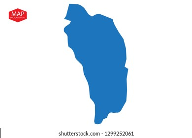 Map of dominica. Detailed vector map with counties, regions, province, states. Blue shape/contour map of dominica. High Detailed Blue Map of Dominica isolated on white background. - Vector
