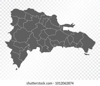 Map of Dominican republic , vector illustration on transparent background. Items are placed on separate layers and editable.