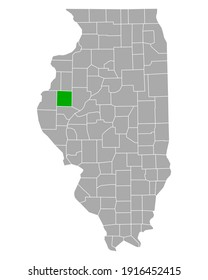 Map of Donough in Illinois on white