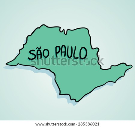 Map Drawing Brazilian State Sao Paulo Stock Vector (Royalty Free ...