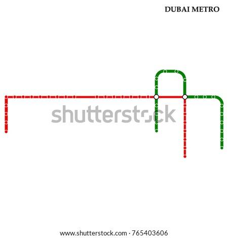 Map Dubai Metro Subway Template City Stock Vector (Royalty Free ...