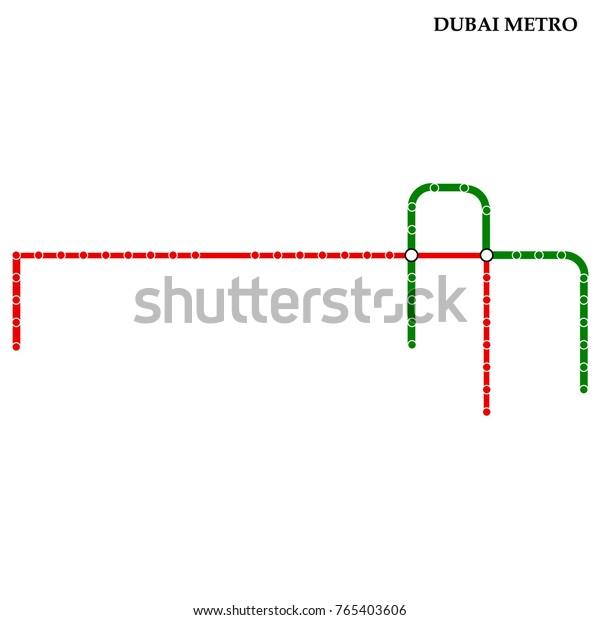 Dubai Subway Map.Map Dubai Metro Subway Template City Stock Vector Royalty Free