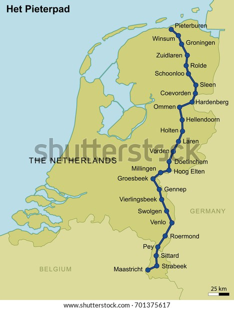 Map Dutch Walking Route Netherlands Pieterpad Stock ...