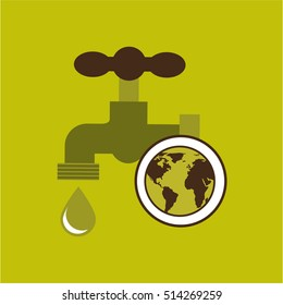 map earth environment ecological green tap water vector illustration eps 10