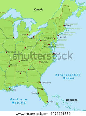 Map East Coast United States With Stock Vector (Royalty Free ...