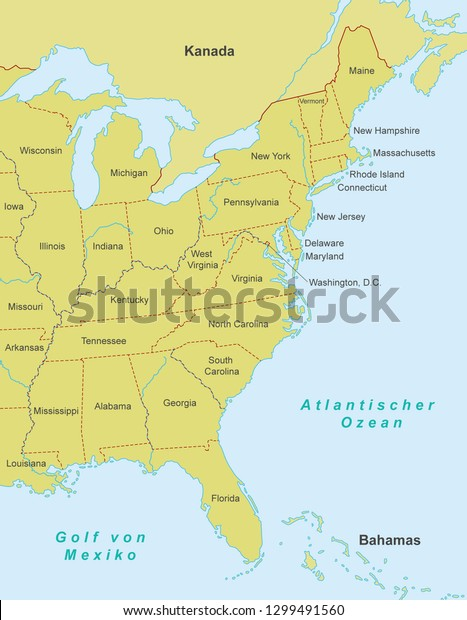 Map East Coast United States German Stock Vector (Royalty ...
