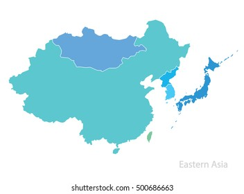 Map of Eastern Asia. Vector.