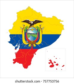 Map Of Ecuador With Flag Isolated On White Background.