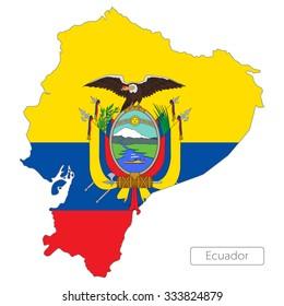 map of Ecuador with the flag. South America